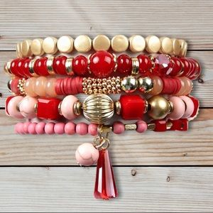 Stacked Bracelets (5) Natural Reds Tassel NWT